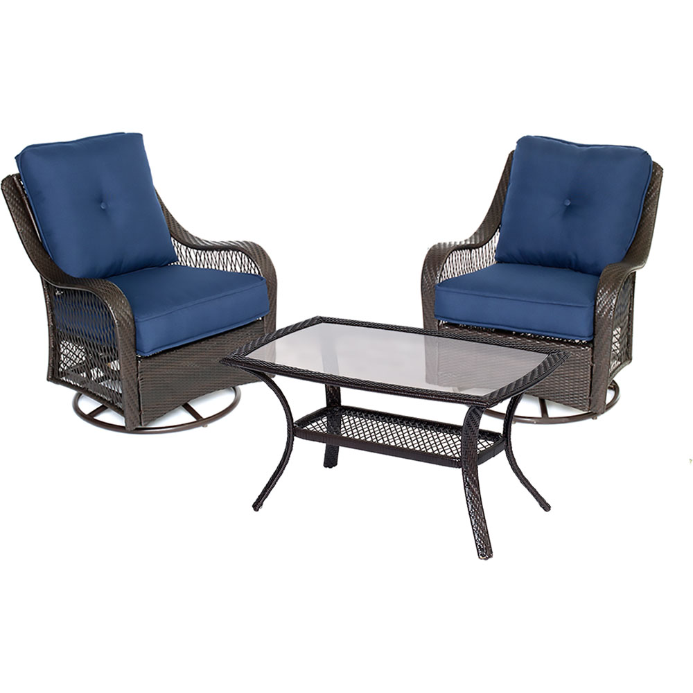 Orleans 3PC Swivel Set: 2 Swivel Chairs, 1 Coffee Table