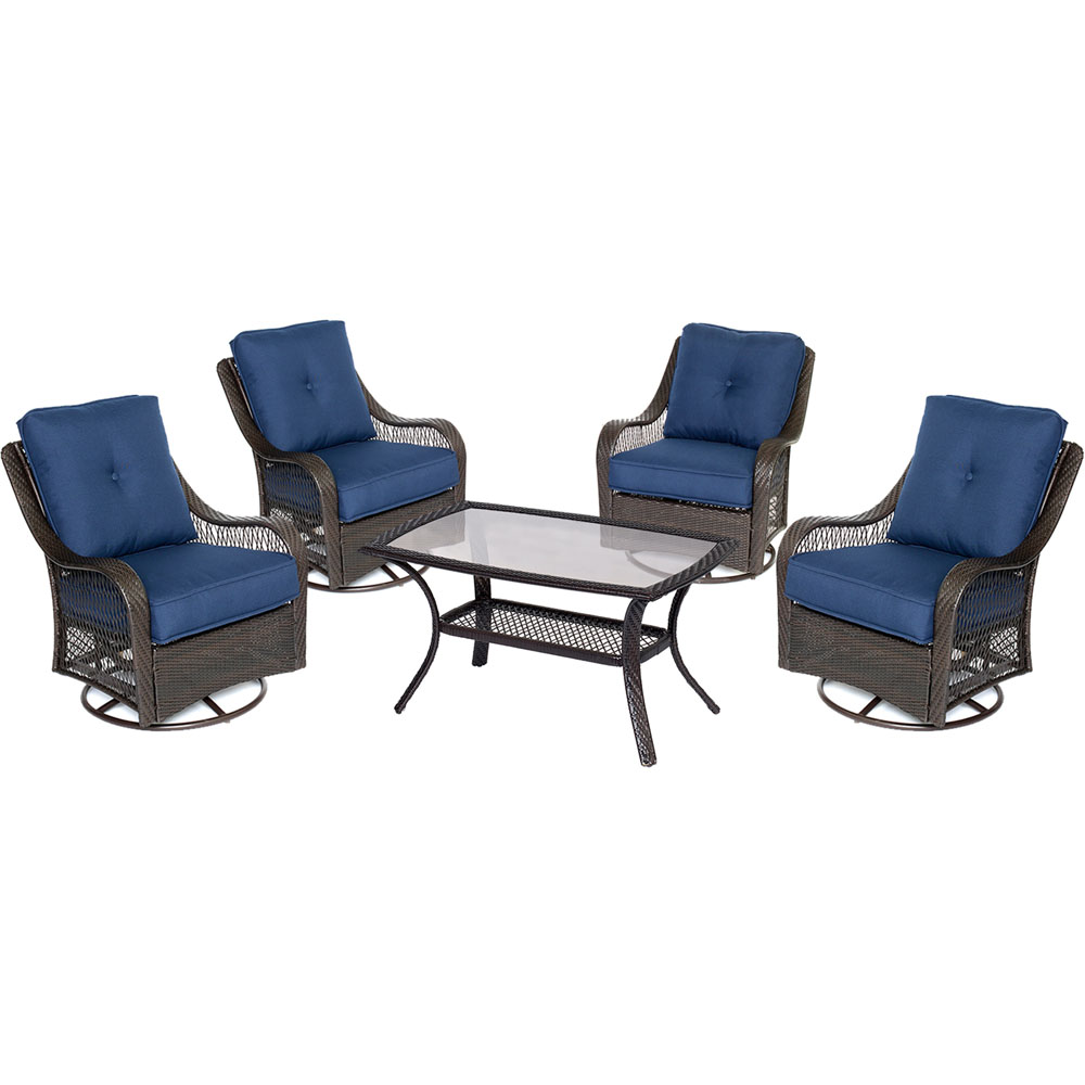 Orleans 5PC Swivel Set: 4 Swivel Chairs, 1 Coffee Table