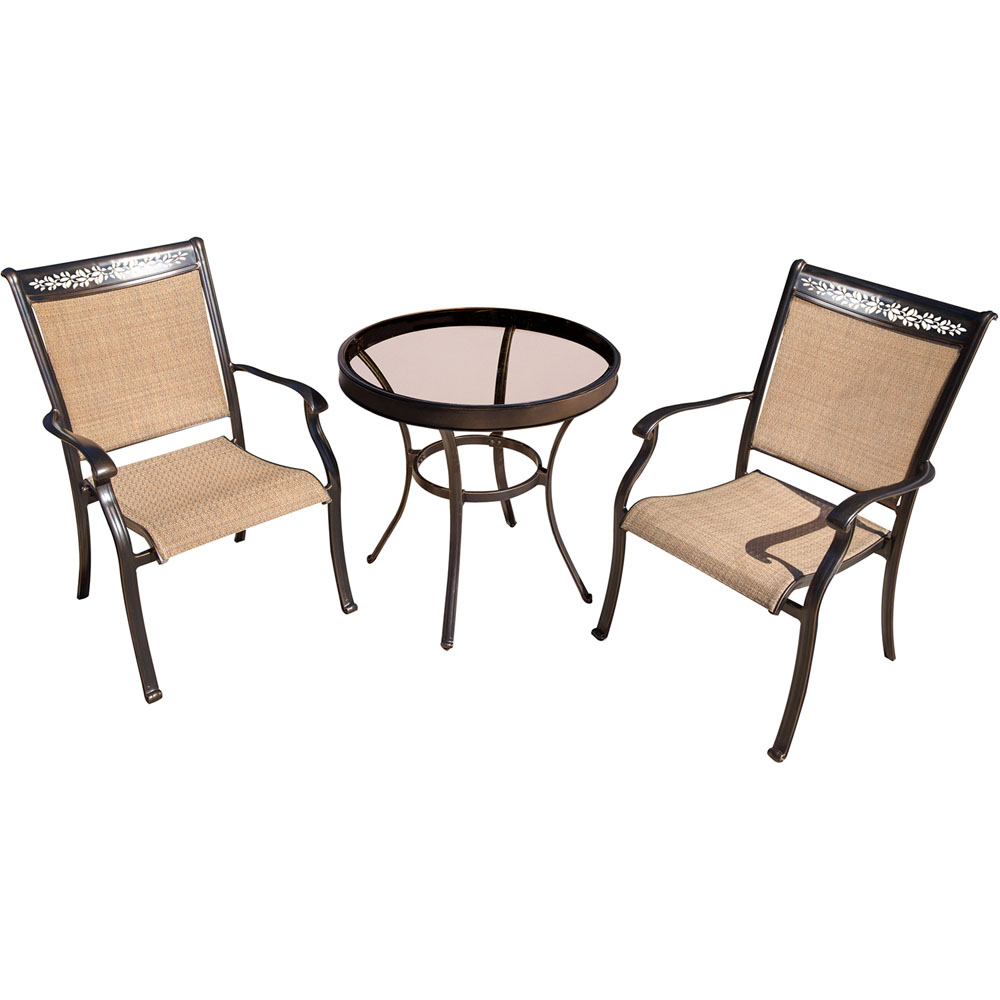 "Fontana3pc: 2 Sling Dining Chairs, 30"" Glass Top Table"