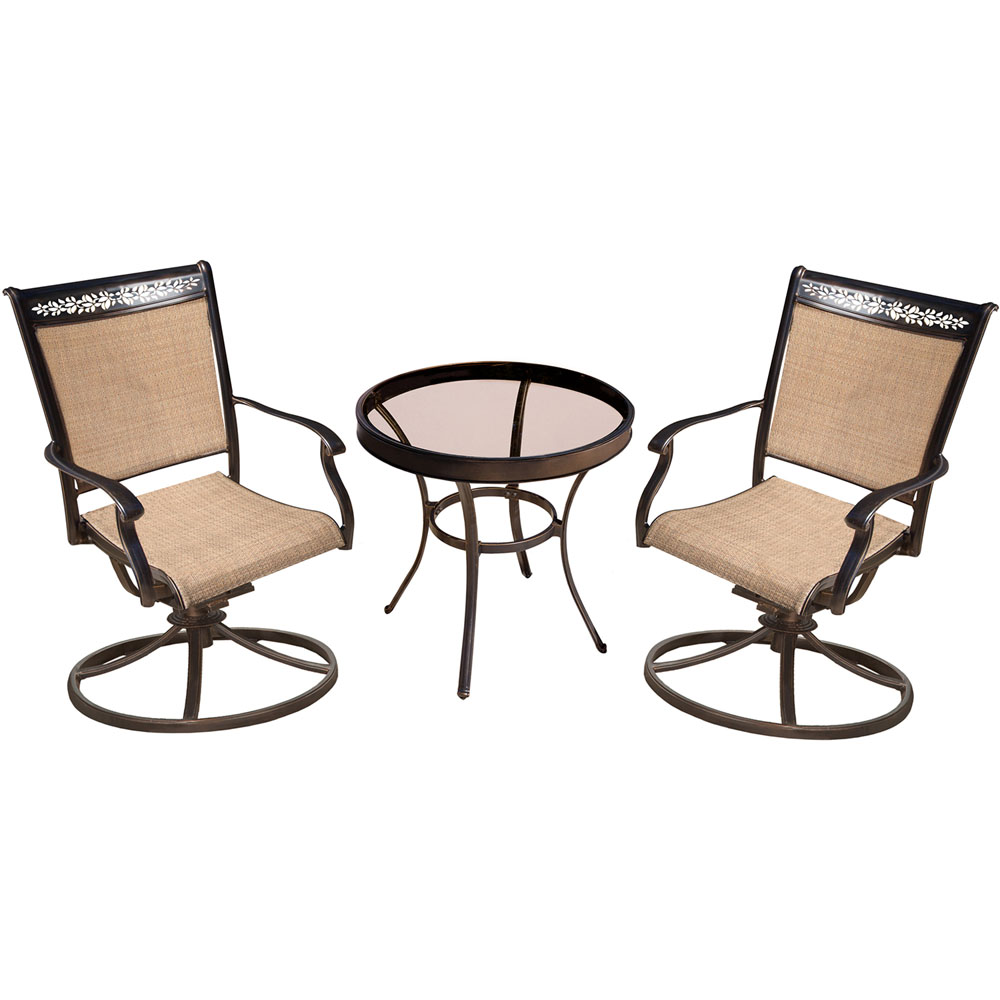 "Fontana3pc: 2 Sling Swivel Rockers, 30"" Glass Top Table"