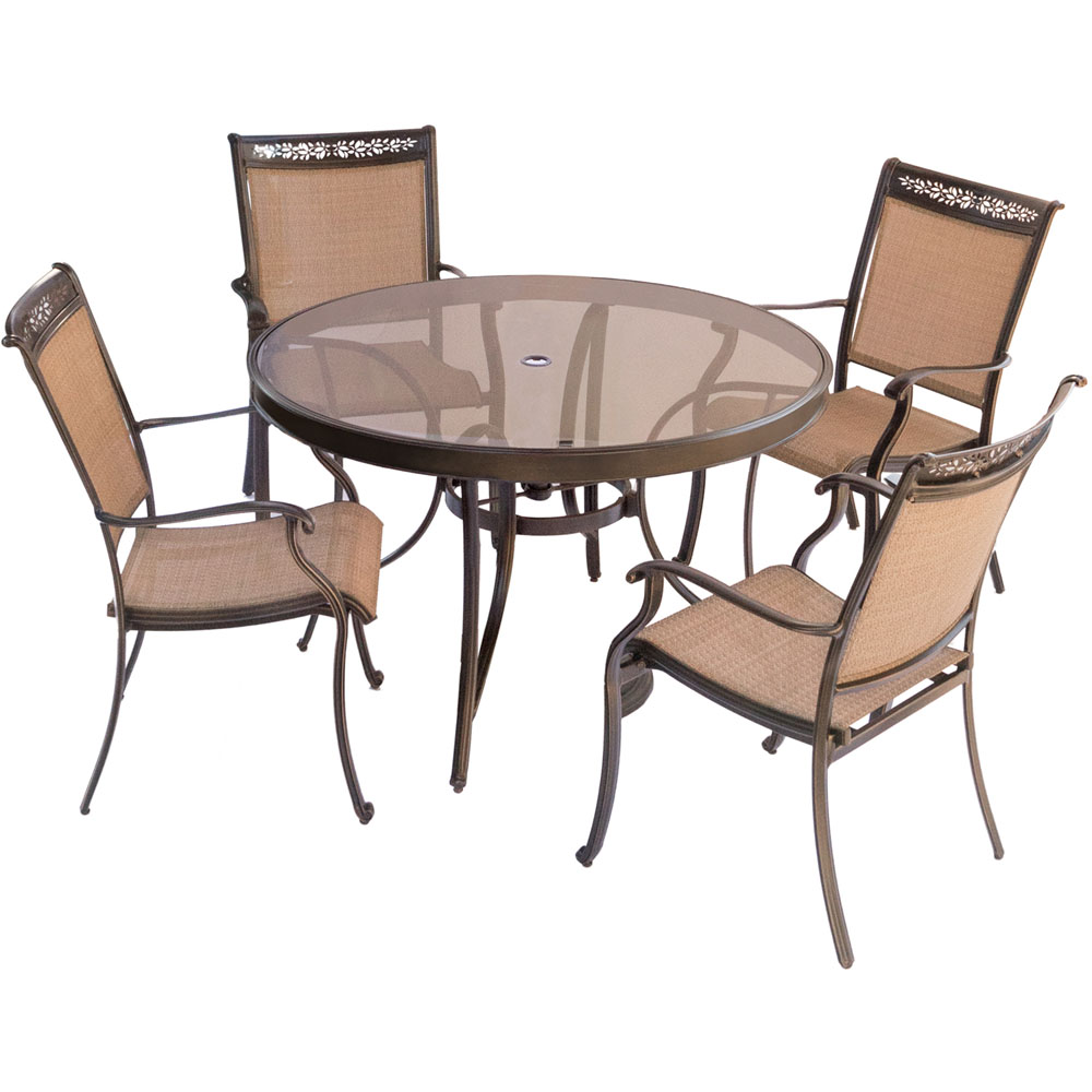 "5pc Dining Set: 4 Sling Dining Chairs, 48"" Round Glass Top Table"