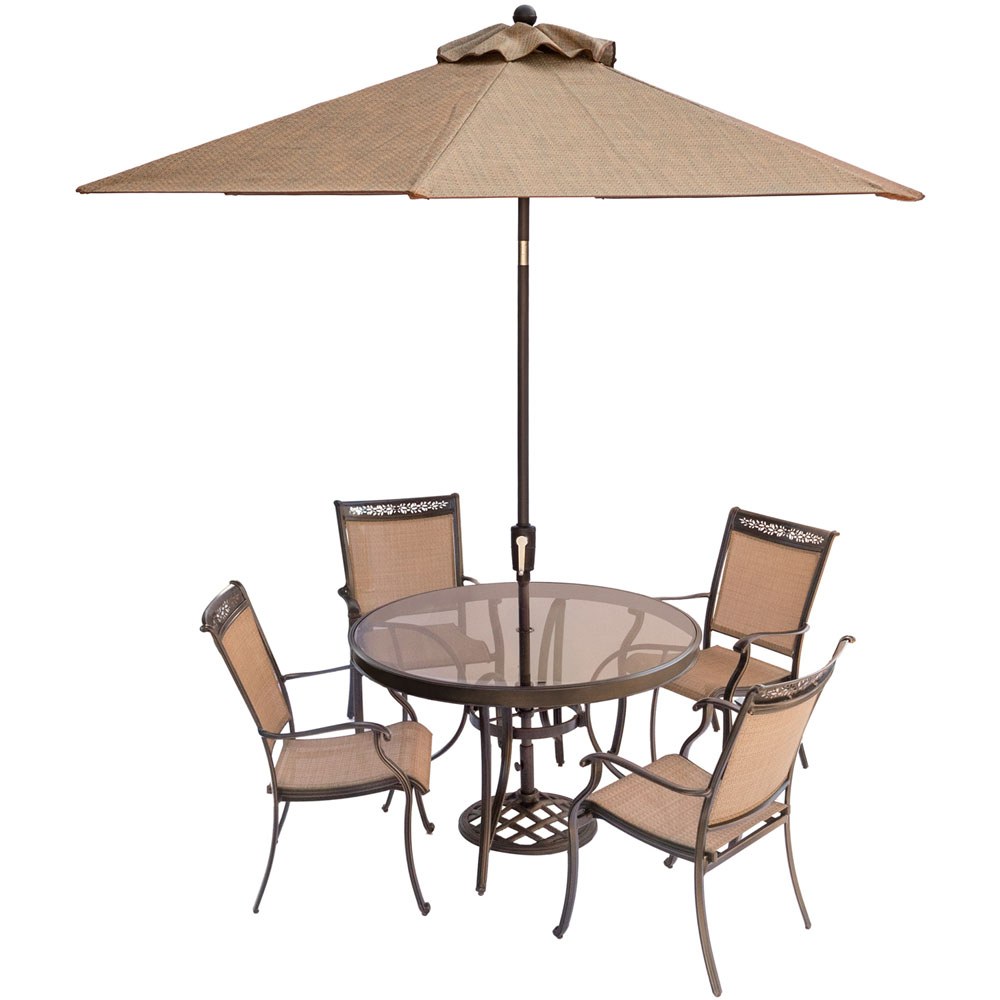 "Fontana5pc: 4 Sling Dining Chairs, 48"" Round Glass Top Table, Umb, Base"