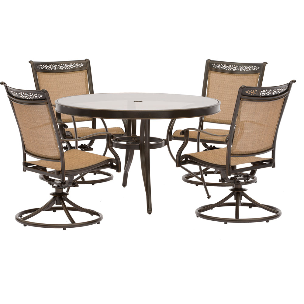 "5pc Dining Set: 4 Sling Swivel Chairs, 48"" Round Glass Top Table"