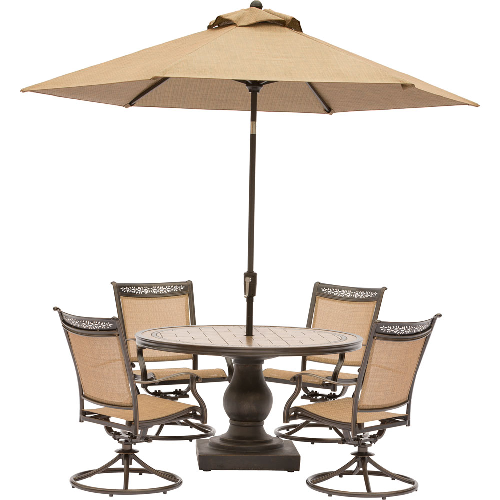 "5pc Dining Set:4 Sling Swivel Chrs, 51"" Rnd Tile Top Dining Tbl Umbrella"