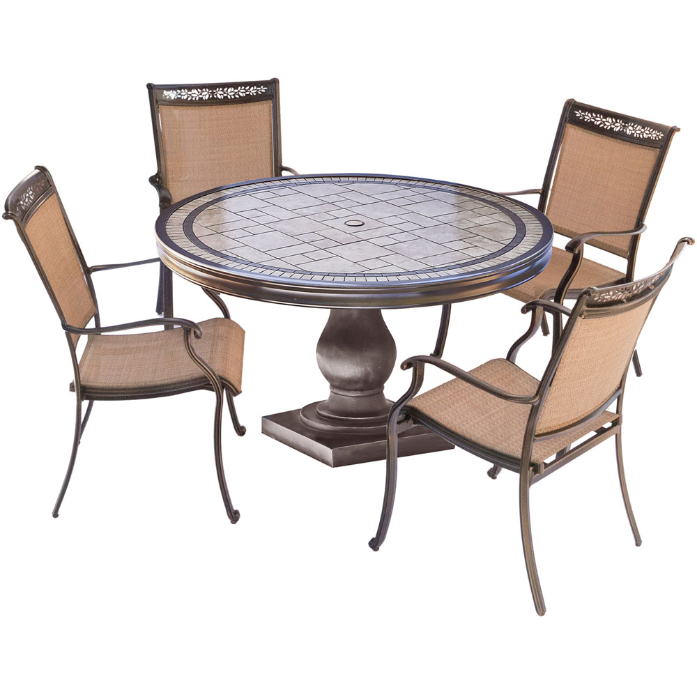 """5pc Dining Set: 4 Sling Dining Chairs, 51"""" Round Tile Top Dining Table"""