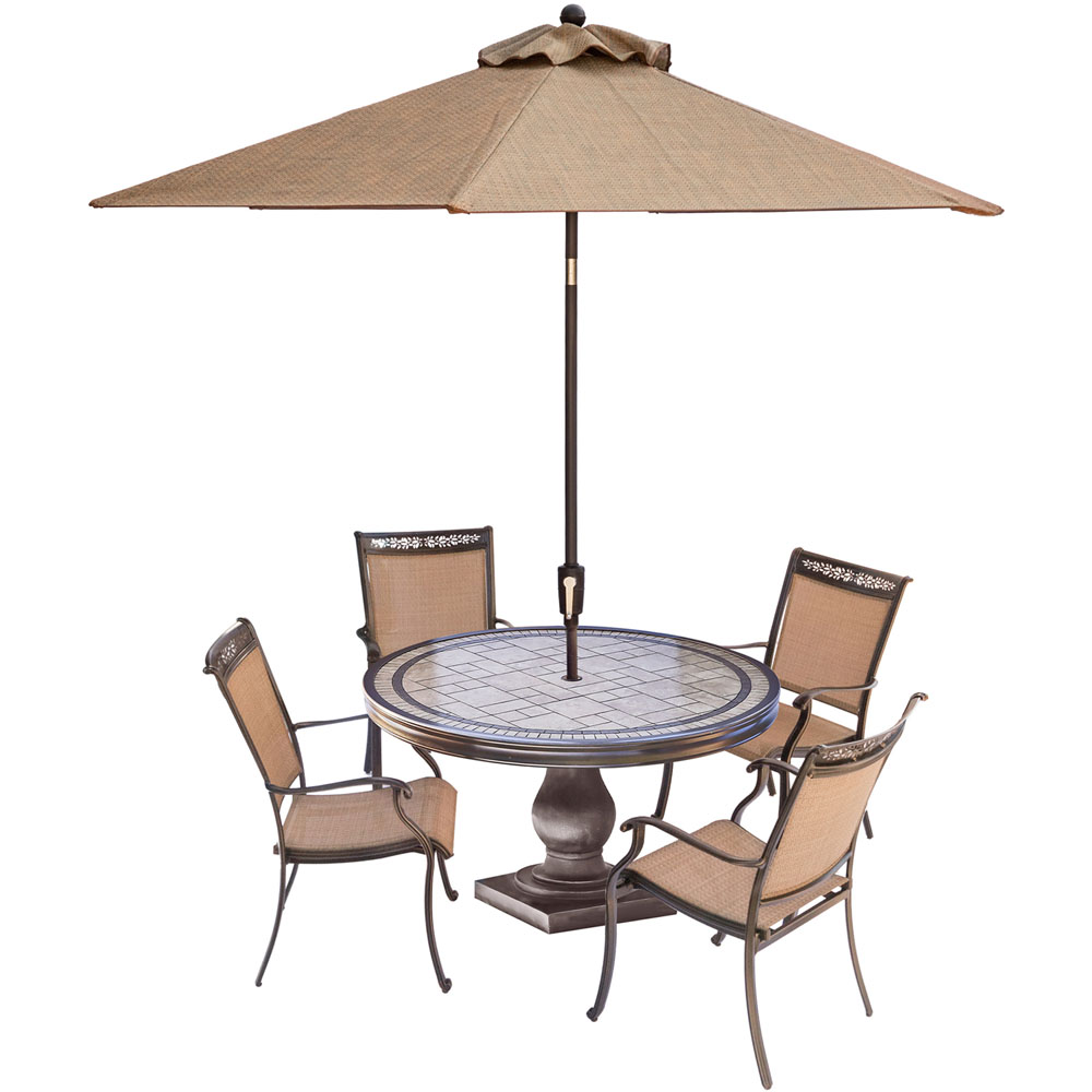 "Fontana5pc: 4 Sling Dining Chairs, 51"" Round Tile Top Table, Umbrella"