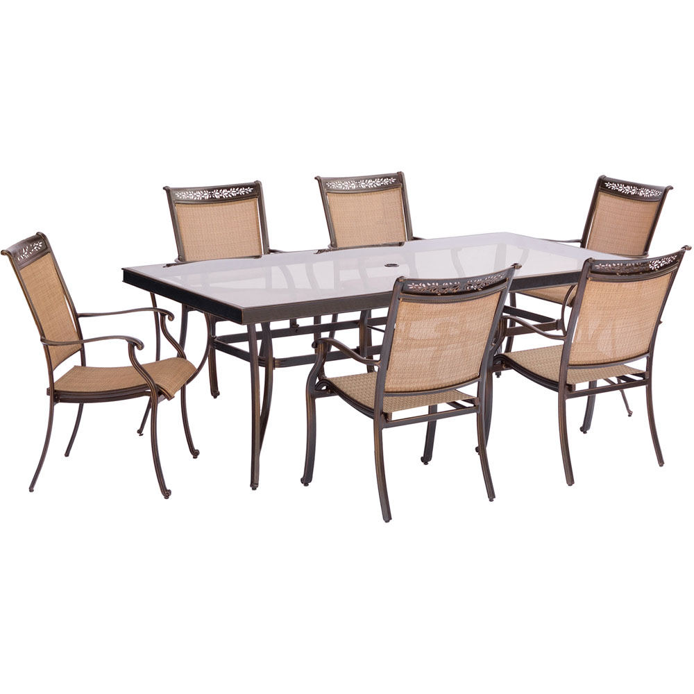 "7pc Dining Set: 6 Sling Dining Chairs, 42x84"" Glass Dining Table"