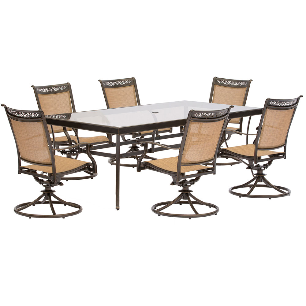 "7pc Dining Set: 6 Sling Swivel Chairs, 42x84"" Glass Dining Table"