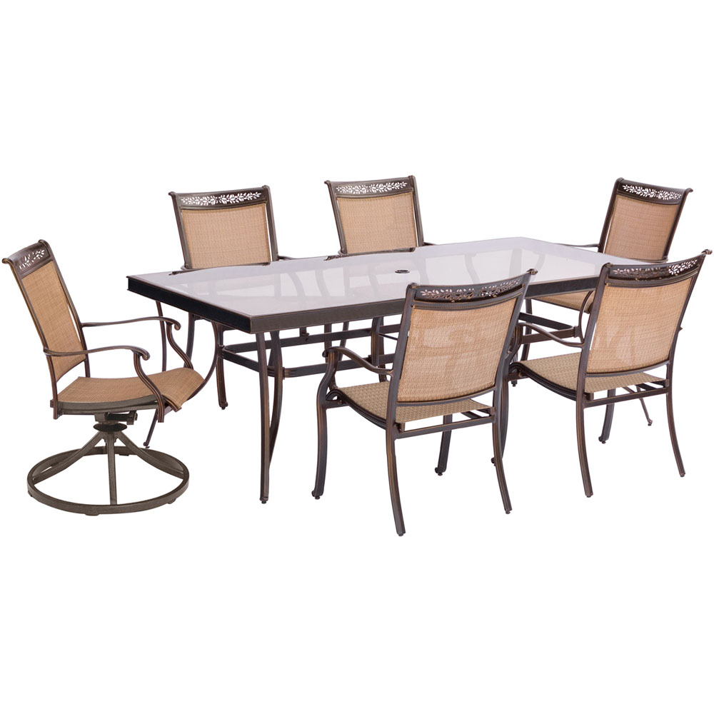 "7pc Dining Set:6 Slng Swvl Chrs, 42x84"" Gls Dining Tbl"