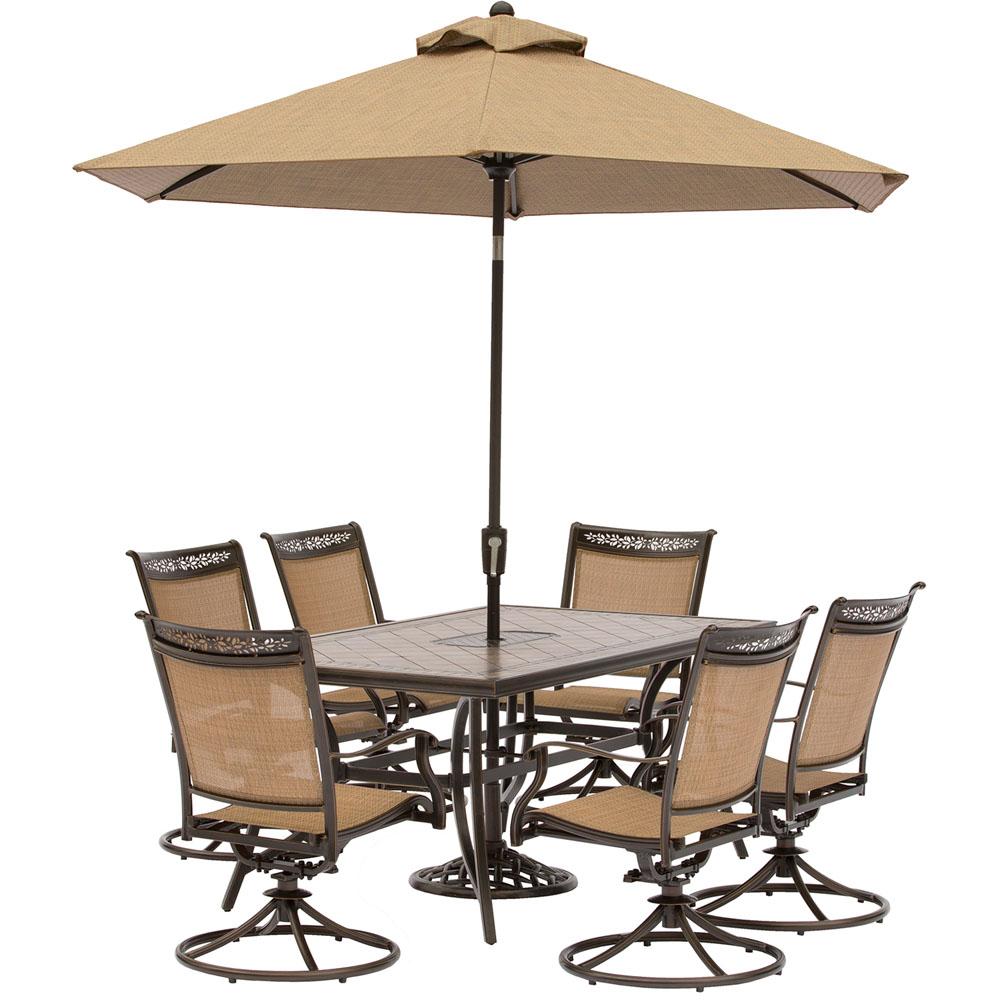 "7pc Dining Set:6 Sling Swivel Chrs, 40x68"" Tile Top Table, Umbrella/Base"