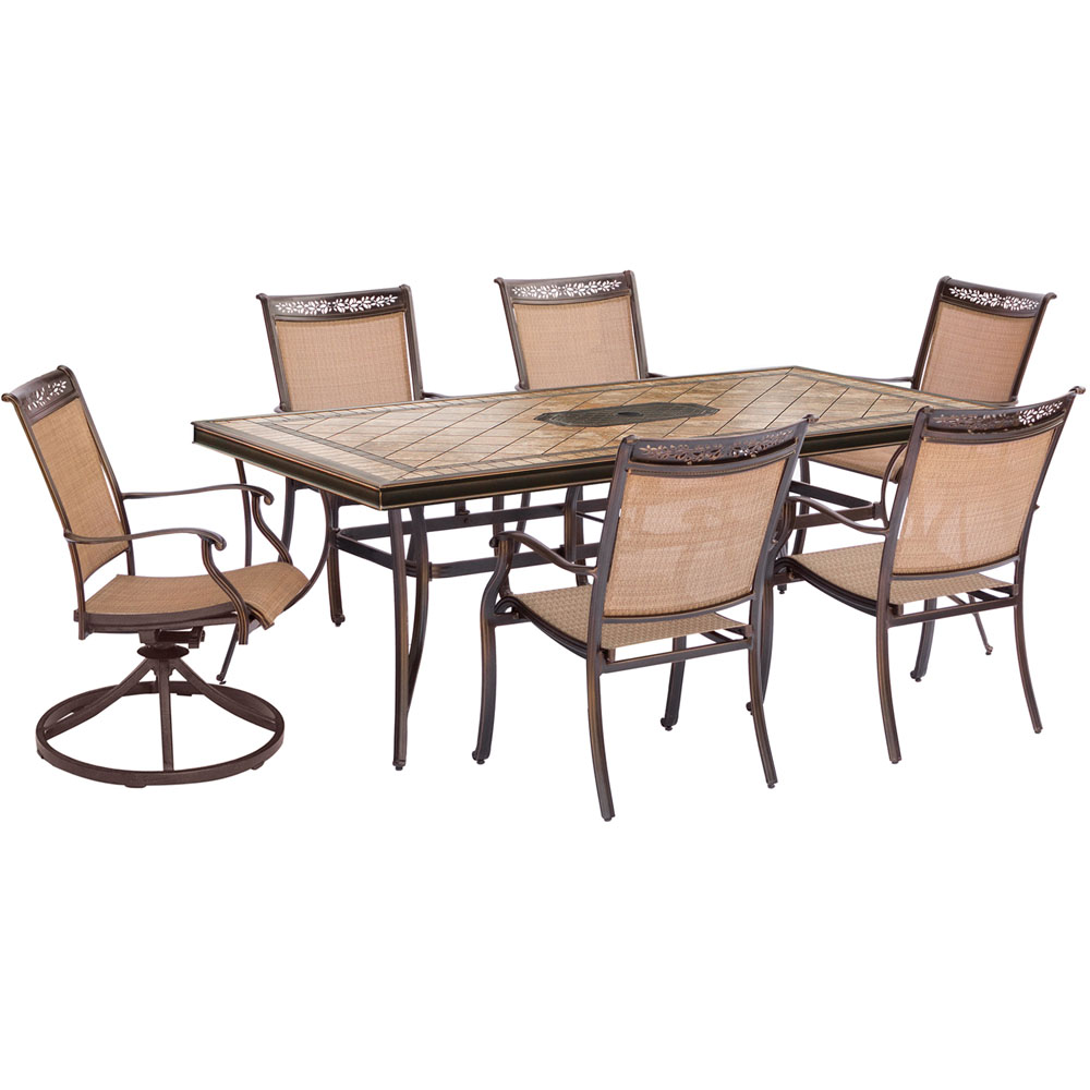 "Fontana7pc: 4 Sling Dining Chairs, 2 Sling Swvl Rockers, 40x68"" Tile Tbl"
