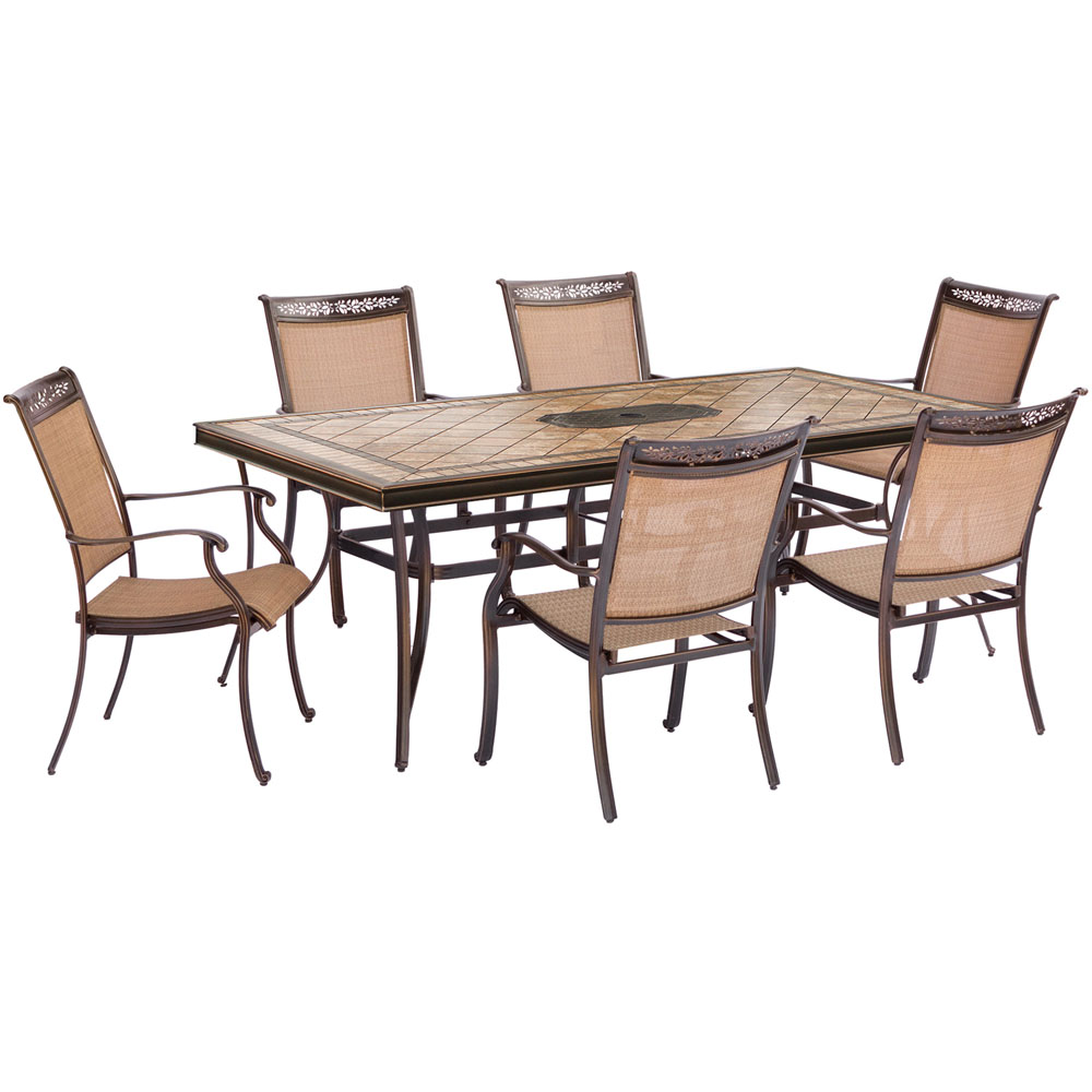 """7pc Dining Set: 6 Sling Dining Chairs, 40x68"""" Tile Top Dining Table"""