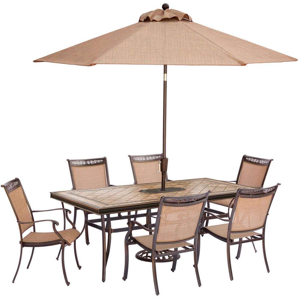 "7pc Dining Set:6 Sling Dining Chrs, 40x68"" Tile Top Table, Umbrella/Base"