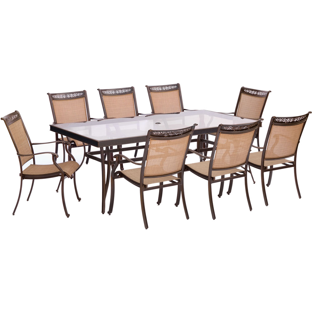 """9pc Dining Set: 8 Sling Dining Chairs, 42x84"""" Glass Dining Table"""