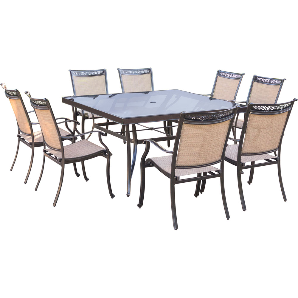 "Fontana9pc: 8 Sling Dining Chairs, 60"" Square Glass Top Table"