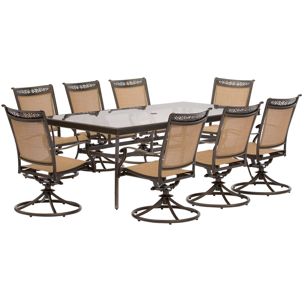 "9pc Dining Set: 8 Sling Swivel Chairs, 42x84"" Glass Dining Table"