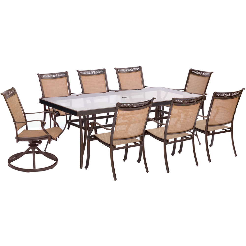 "9pc Dining Set:6 Slng Dining Chrs, 2 Slng Swivel Chrs, 42x84"" Glass Tbl"