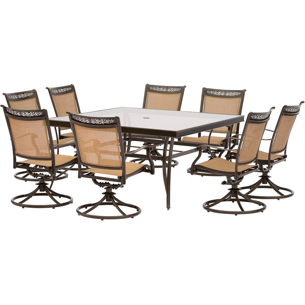 "9pc Dining Set: 8 Sling Swivel Chairs, 60"" Square Glass Dining Table"