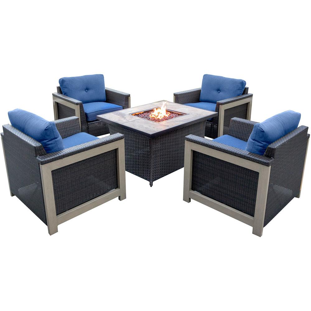 5pc Fire Pit Set: 4 Deep Seating Chairs, Coffee Tbl Fire Pit w/tan tile