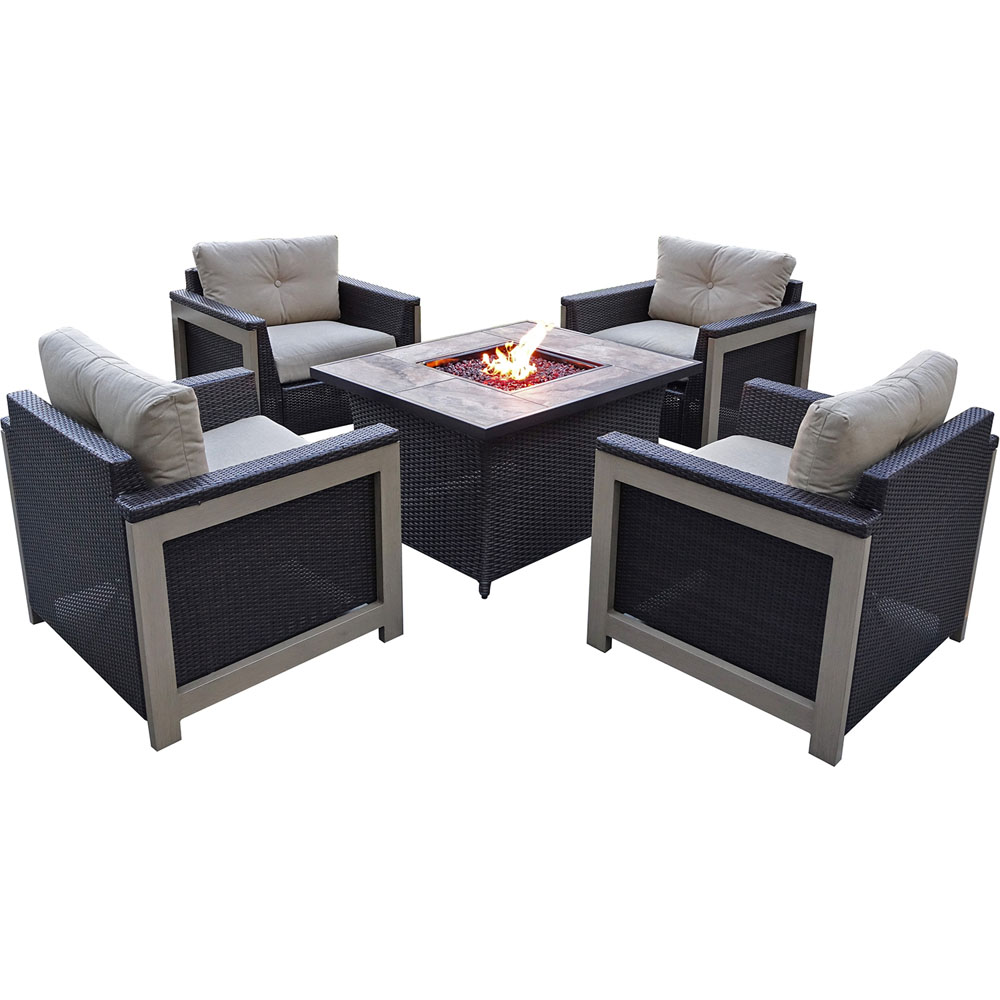 5pc Fire Pit Set: 4 Deep Seating Chairs, Coffee Tbl Fire Pit w/tan tile