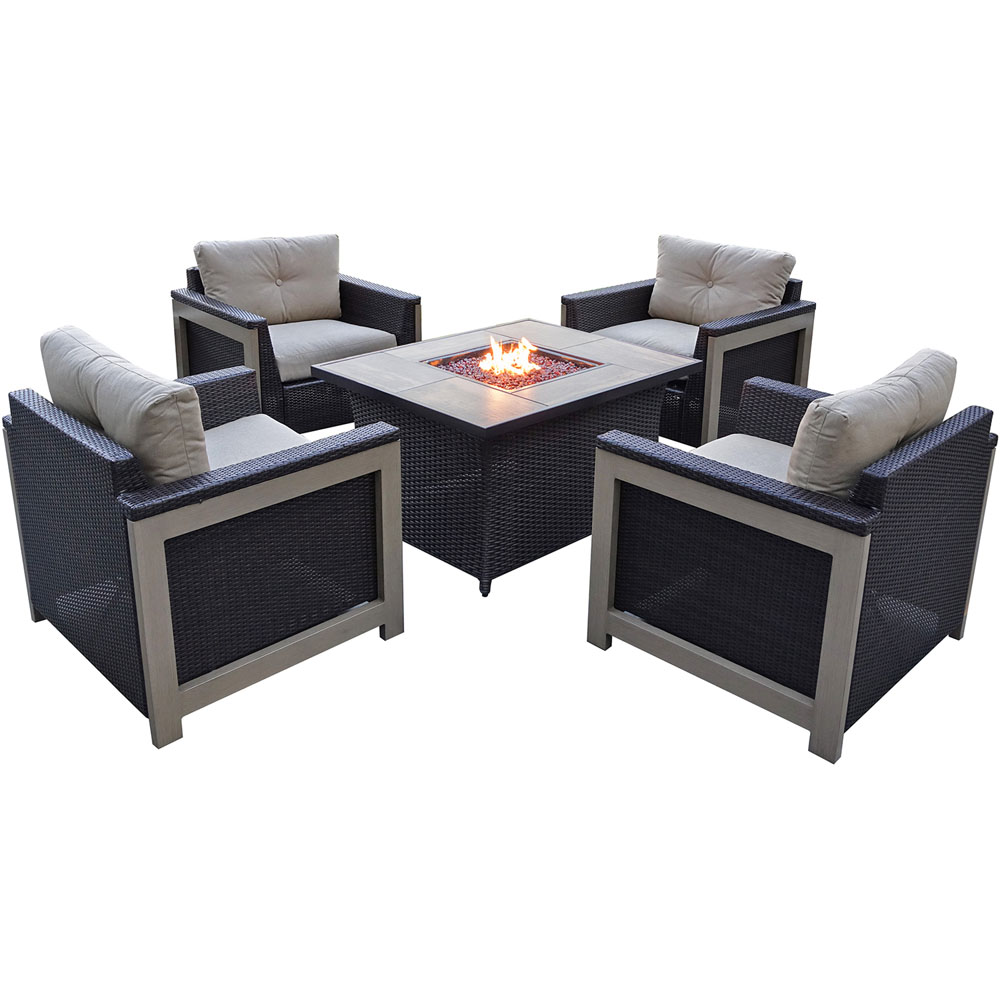 5pc Fire Pit Set: 4 Deep Seating Chairs, Coffee Tbl Fire Pit, Wdgrn Tile