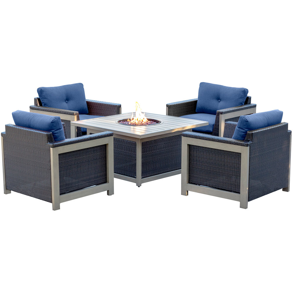 5pc Fire Pit Set: 4 Deep Seating Chairs, Sq Woven Fire Pit w/Slat Top