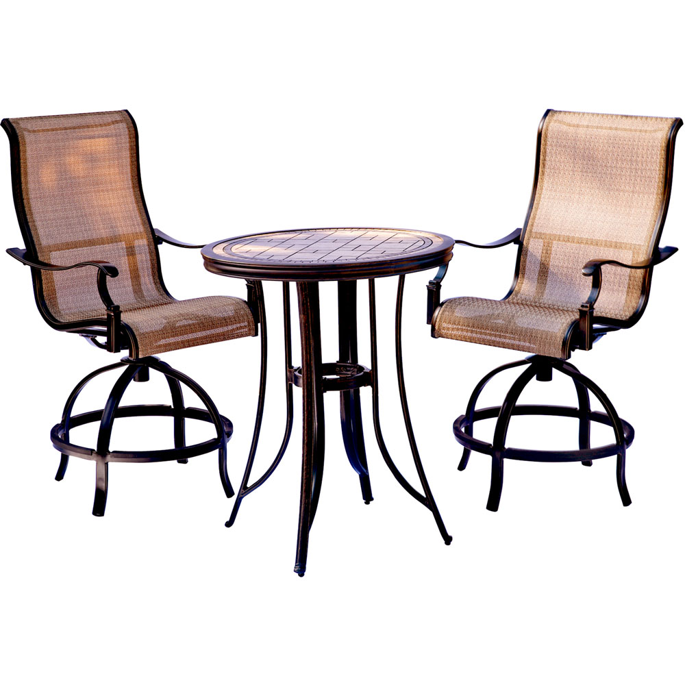 "Monaco3pc: 2 Sling Swivel Counter Height Chairs, 30"" Tile Top Tbl (36""H)"