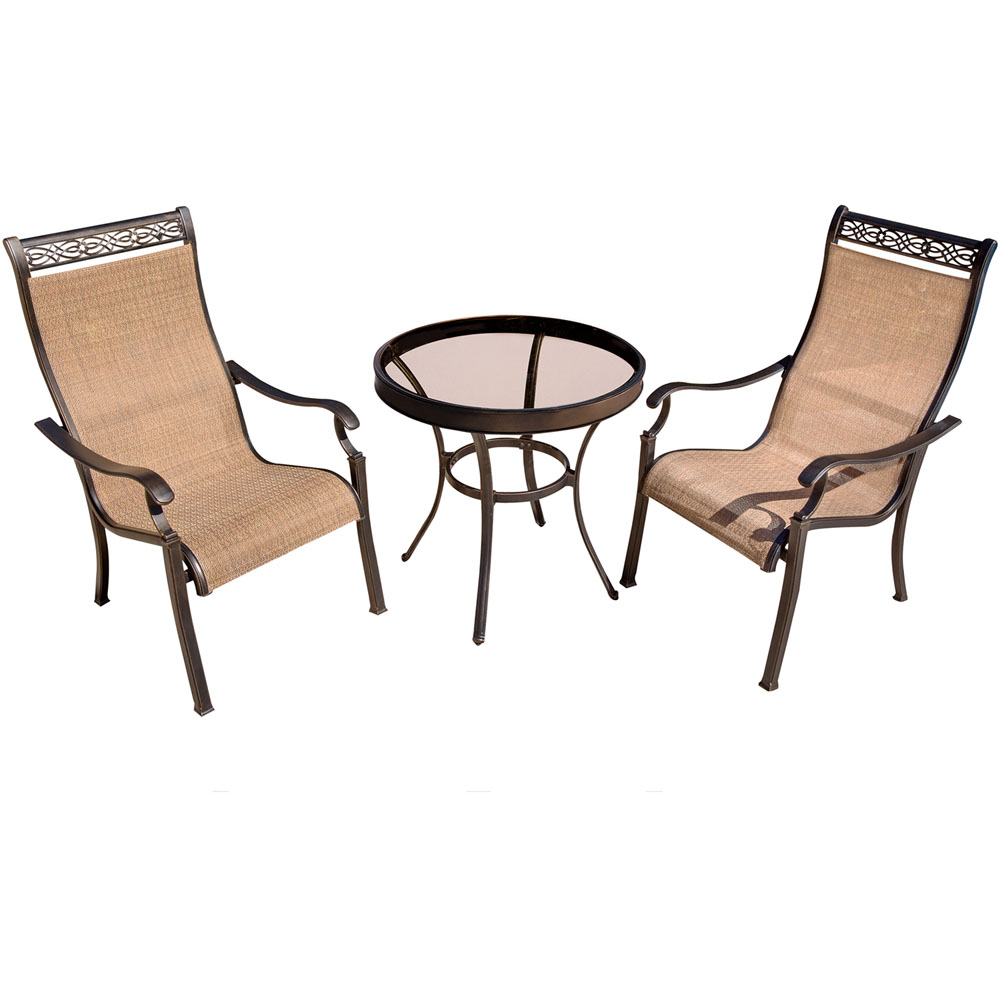 "Monaco3pc: 2 Sling Dining Chairs, 30"" Glass Top Table"