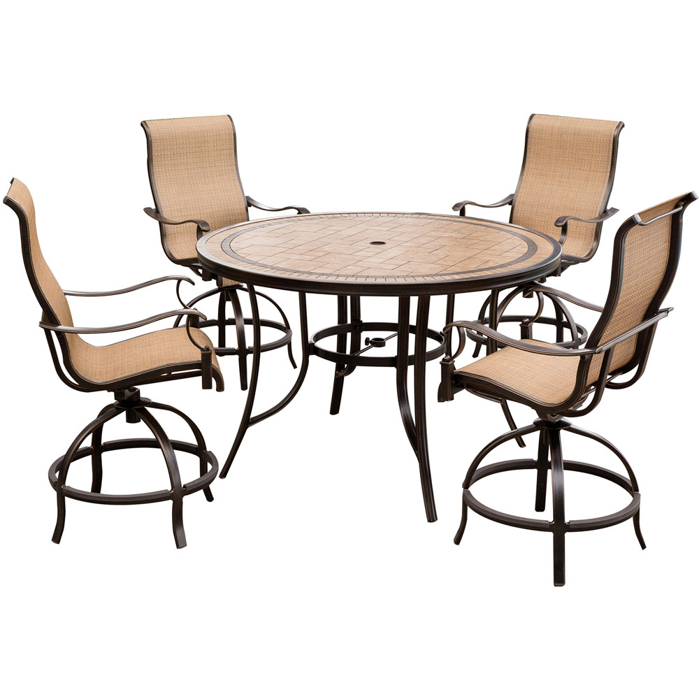 "Monaco 5PC High Dining:4 Swvl Sling Bar Chairs,56"" Porcelain Tbl"