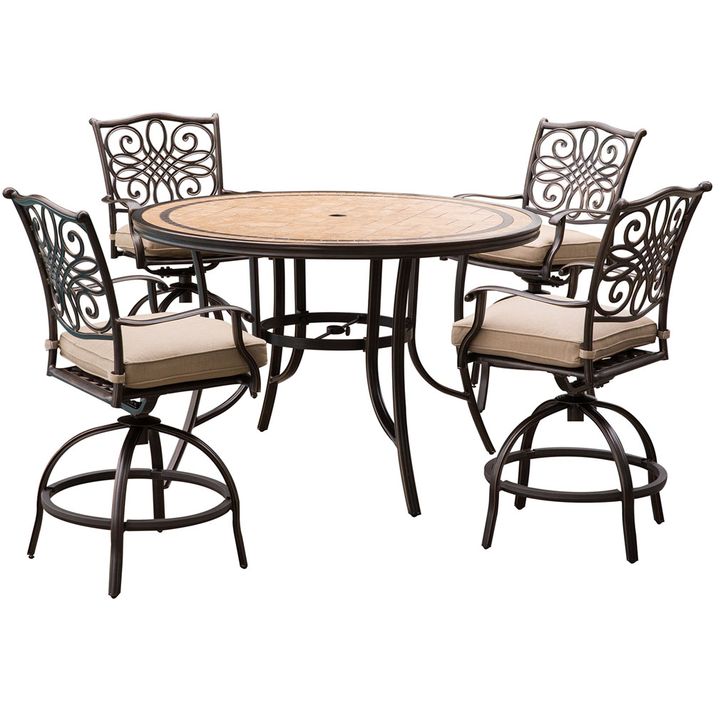 "Monaco 5PC High Dining:4 Swvl Bar Chairs, 56"" Porcelain Tbl"