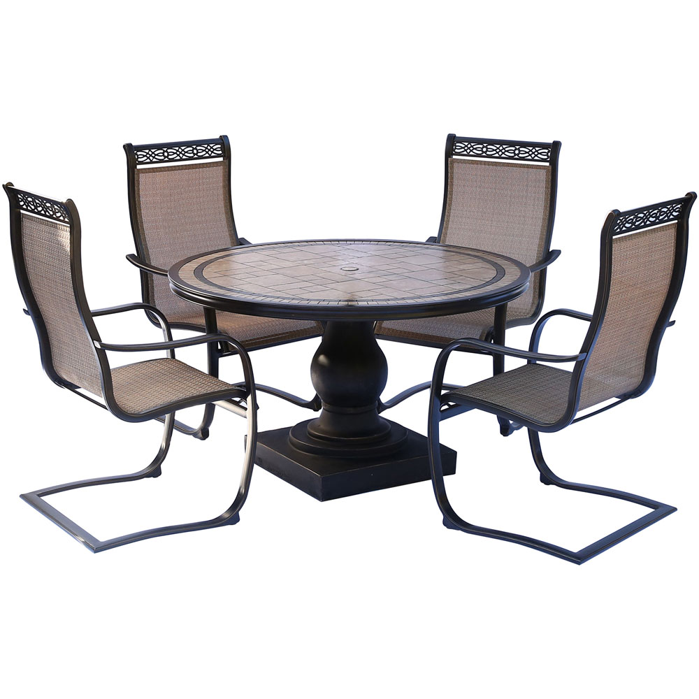 """Monaco 5PC Dining Set: 4 Spring Sling Chairs and 51"""" Porcelain Tbl"""