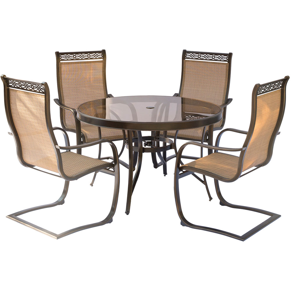 """Monaco 5PC Dining Set:4 Spring Sling Chairs and 48"""" Glass Tbl"""