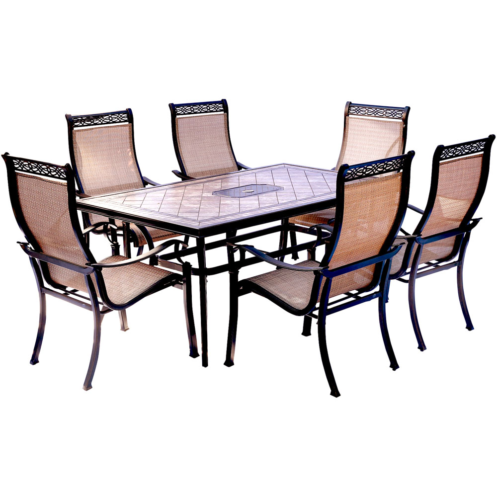 """Monaco 7PC Dining Set: 6 Sling Chairs and 40""""X68"""" Porcelain Tbl"""