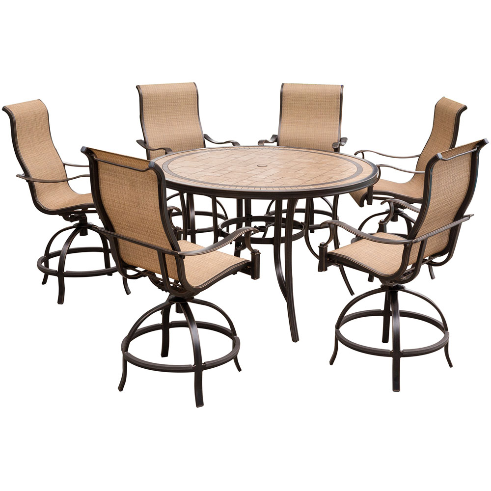 "Monaco7pc: 6 Sling Swivel Counter Height Chairs, 56"" Rnd Tile Tbl (36""H)"