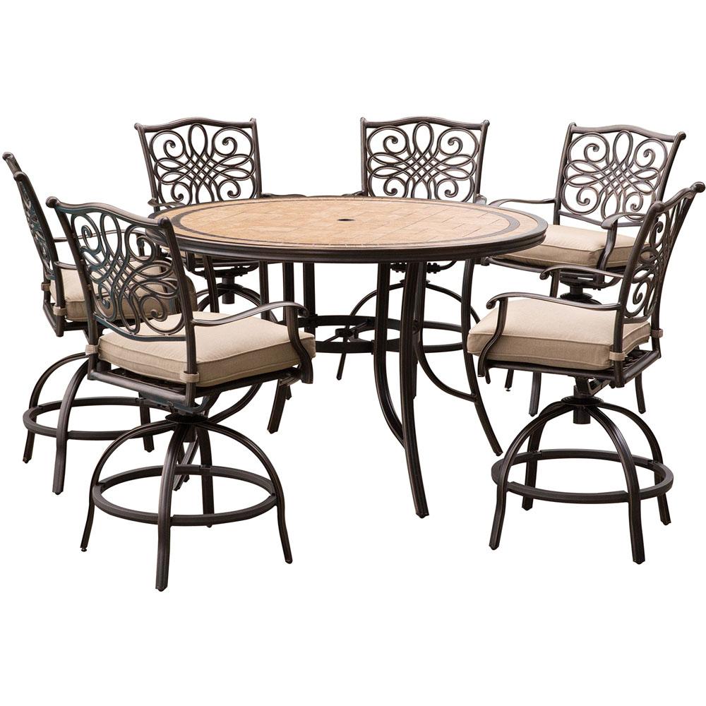 "Monaco 7PC High Dining:6 Swvl Bar Chairs,56"" Porcelain Tbl"