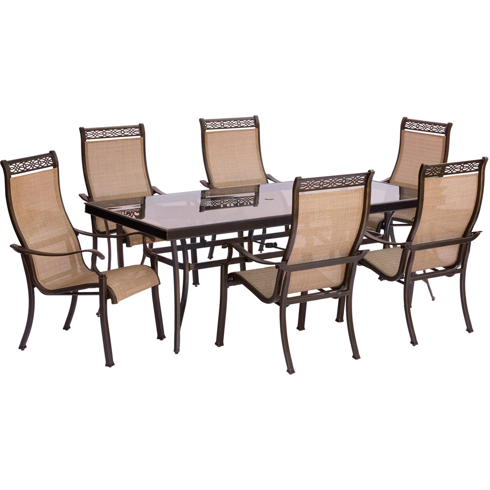 """Monaco 7PC Dining Set:6 Sling Chairs and 42""""x84"""" Glass Table"""