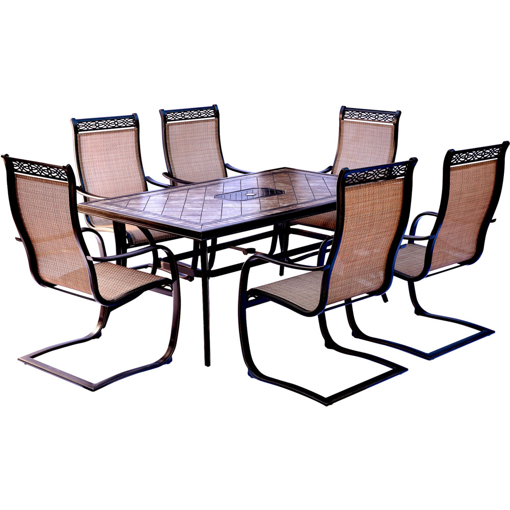 """Monaco 7PC Dining Set: 6 Spring Sling Chairs and 40""""X68"""" Porcelain Tbl"""