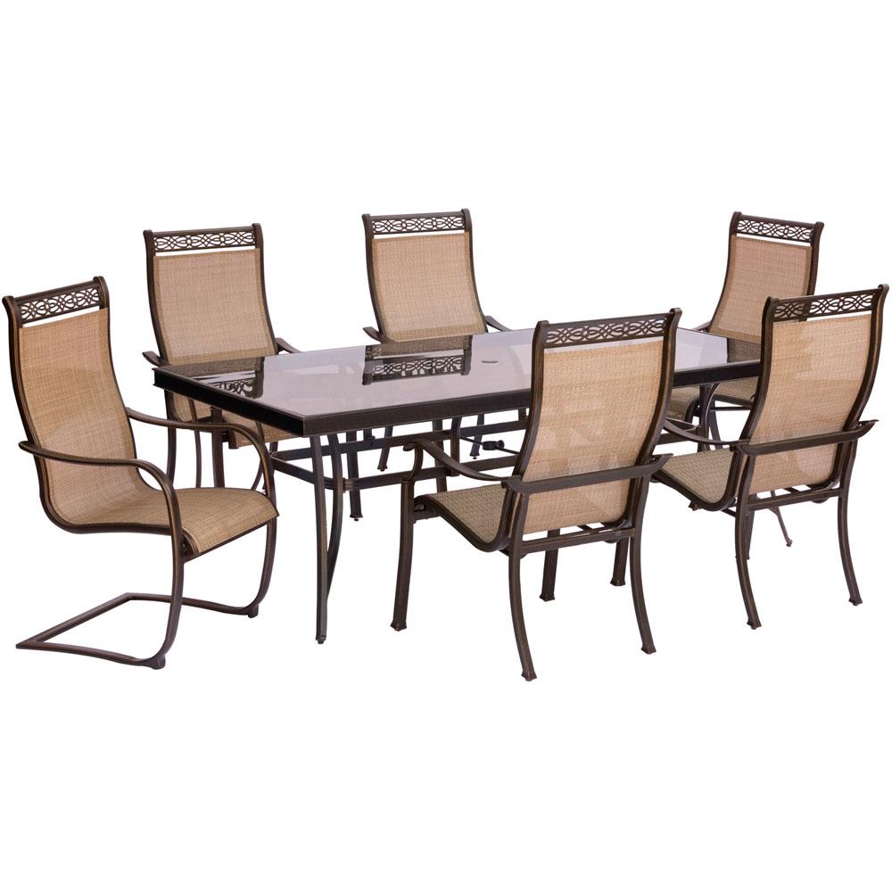 Monaco 7PC Dining Set:4 Sling Chrs,2 Spring Chrs, 42x84 Glass Tbl
