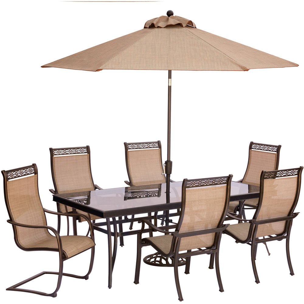Monaco 7PC Dining:4 Chrs,2 Spng Chrs, 42x84 Glass Tbl, Umb, Stand