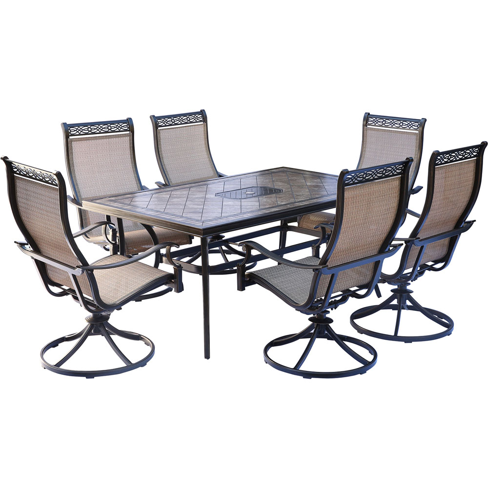 "Monaco7pc: 6 Sling Swivel Rockers, 40x68"" Tile Top Table"