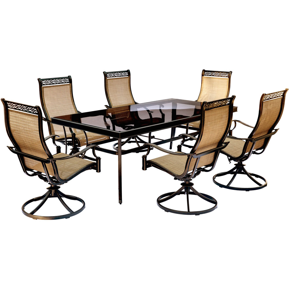"Monaco7pc: 6 Sling Swivel Rockers, 42x84"" Glass Top Table"