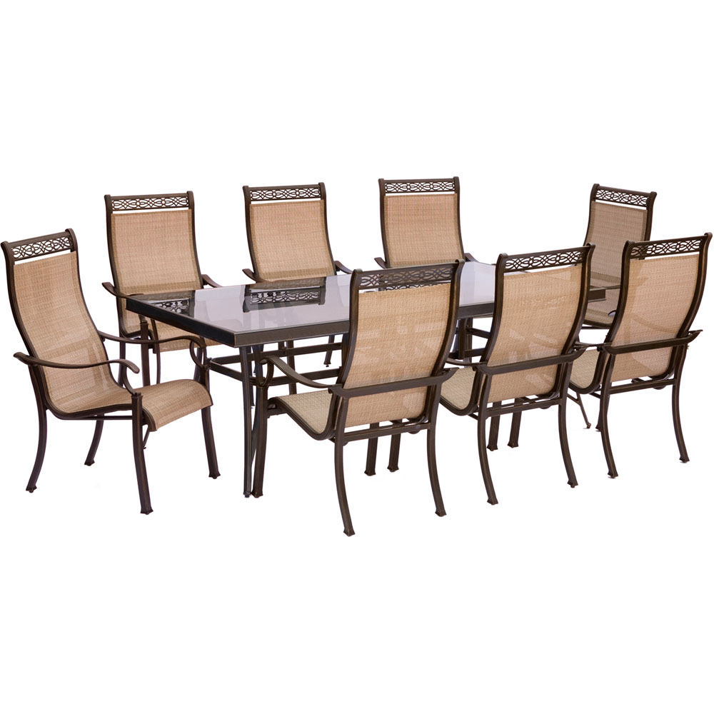 "Monaco9pc: 8 Sling Dining Chairs, 42x84"" Glass Top Table"