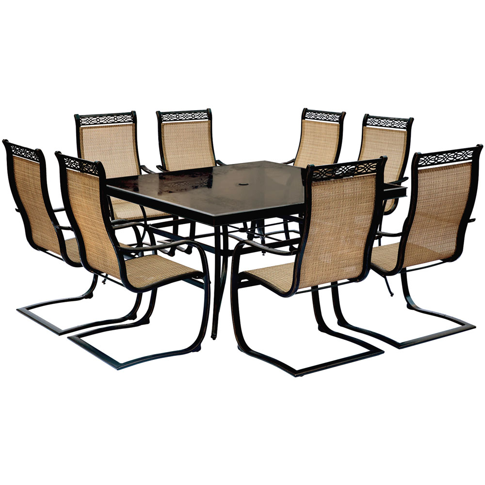 """Monaco 9PC Dining Set:8 Spring Sling Chairs and 42""""x84"""" Glass Tbl"""