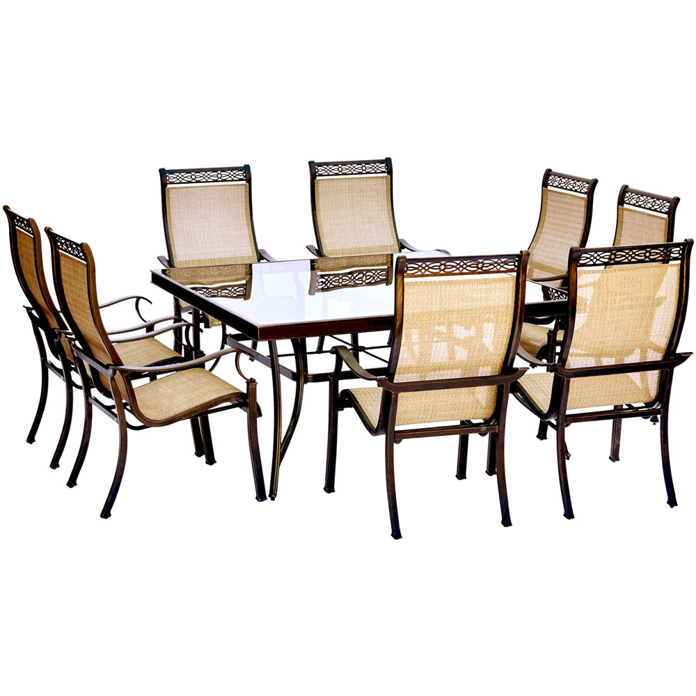 "Monaco9pc: 8 Sling Spring Chairs, 60"" Square Glass Top Table"