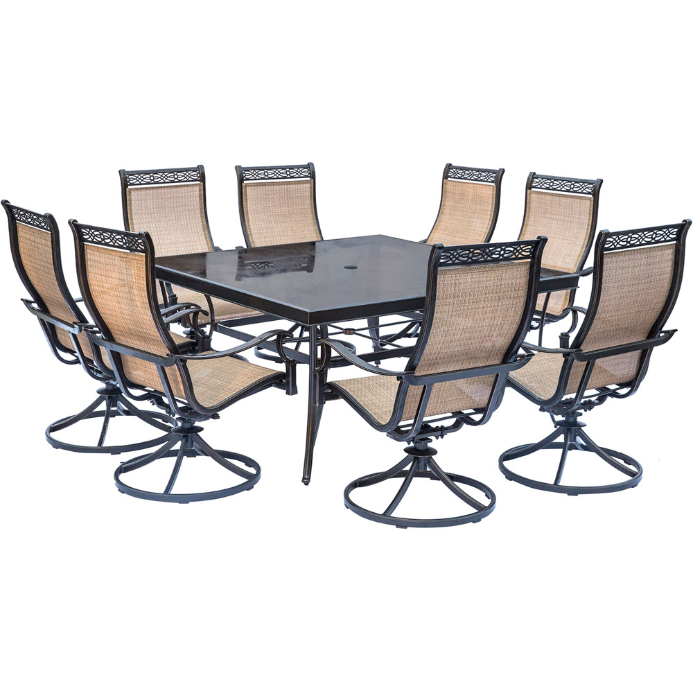"Monaco9pc: 8 Sling Swivel Rockers, 60"" Square Glass Top Table"
