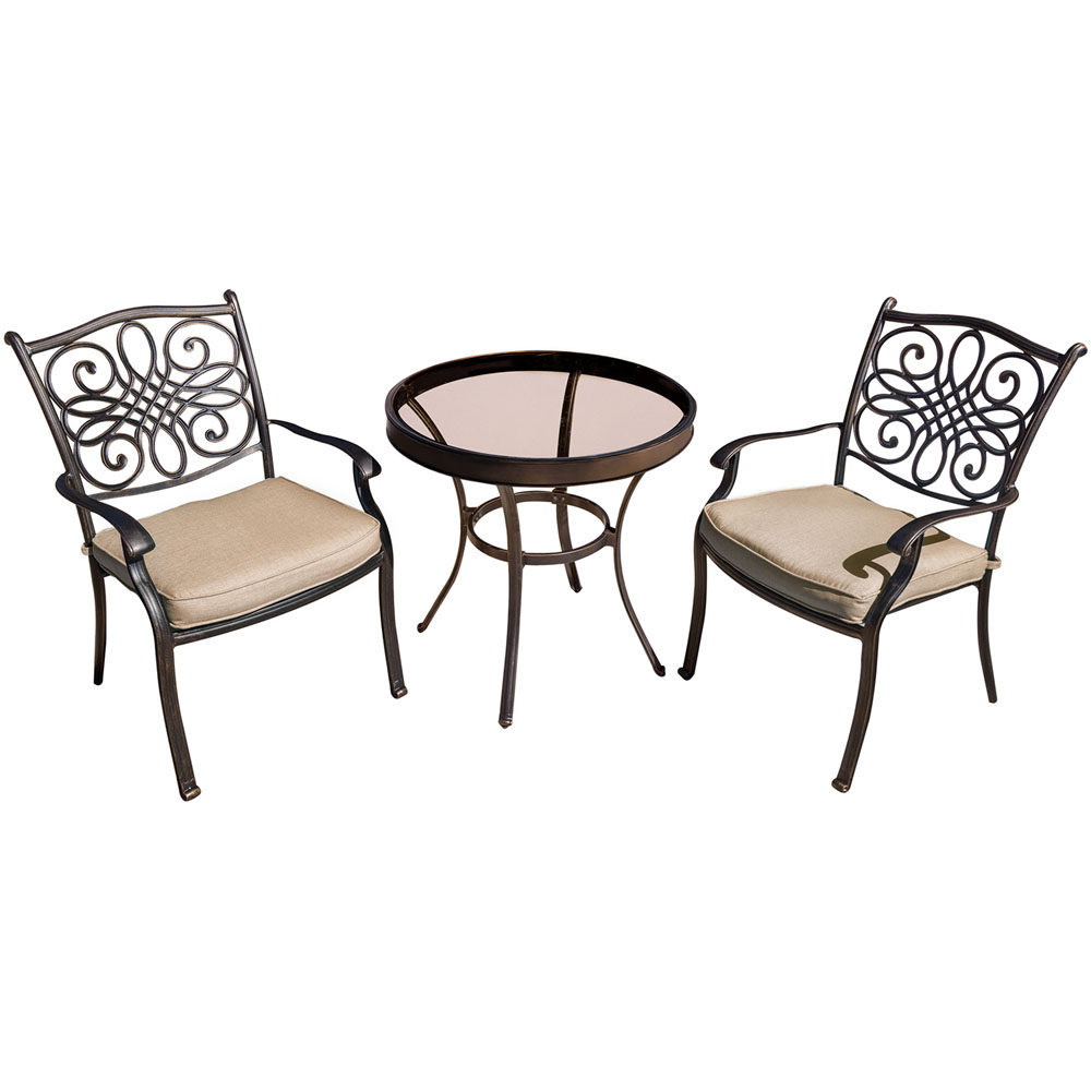 "Traditions3pc: 2 Dining Chairs, 30"" Round Glass Top Table"