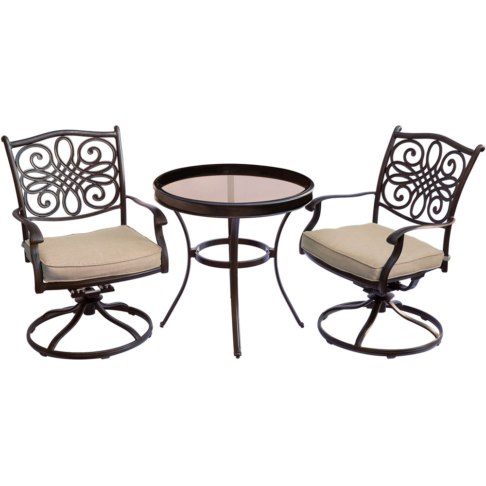 "Traditions3pc: 2 Swivel Rockers, 30"" Round Glass Top Table"