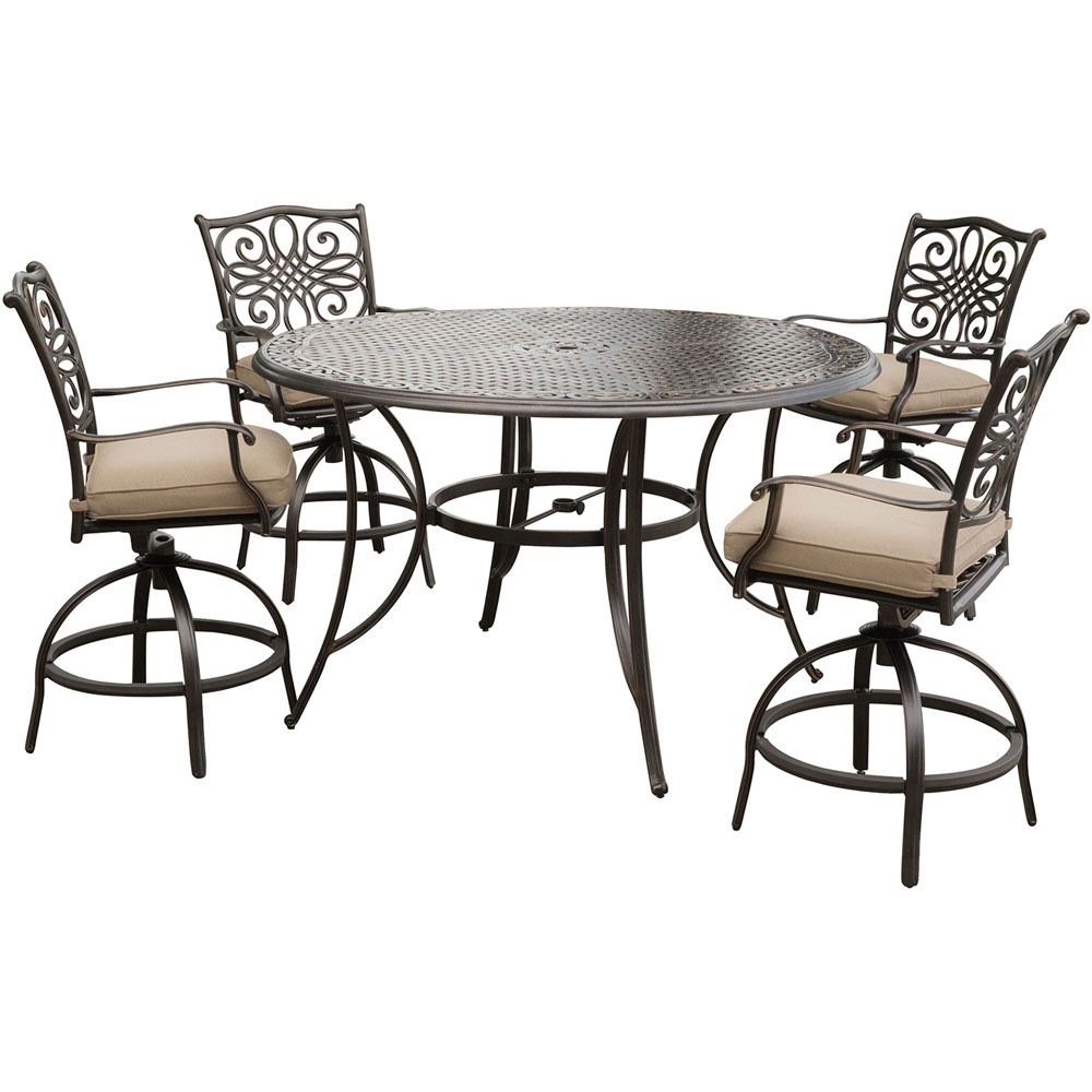 "Traditions5pc: 4 Counter Height Swivel Chairs, 56"" Rnd Cast Table (36""H)"