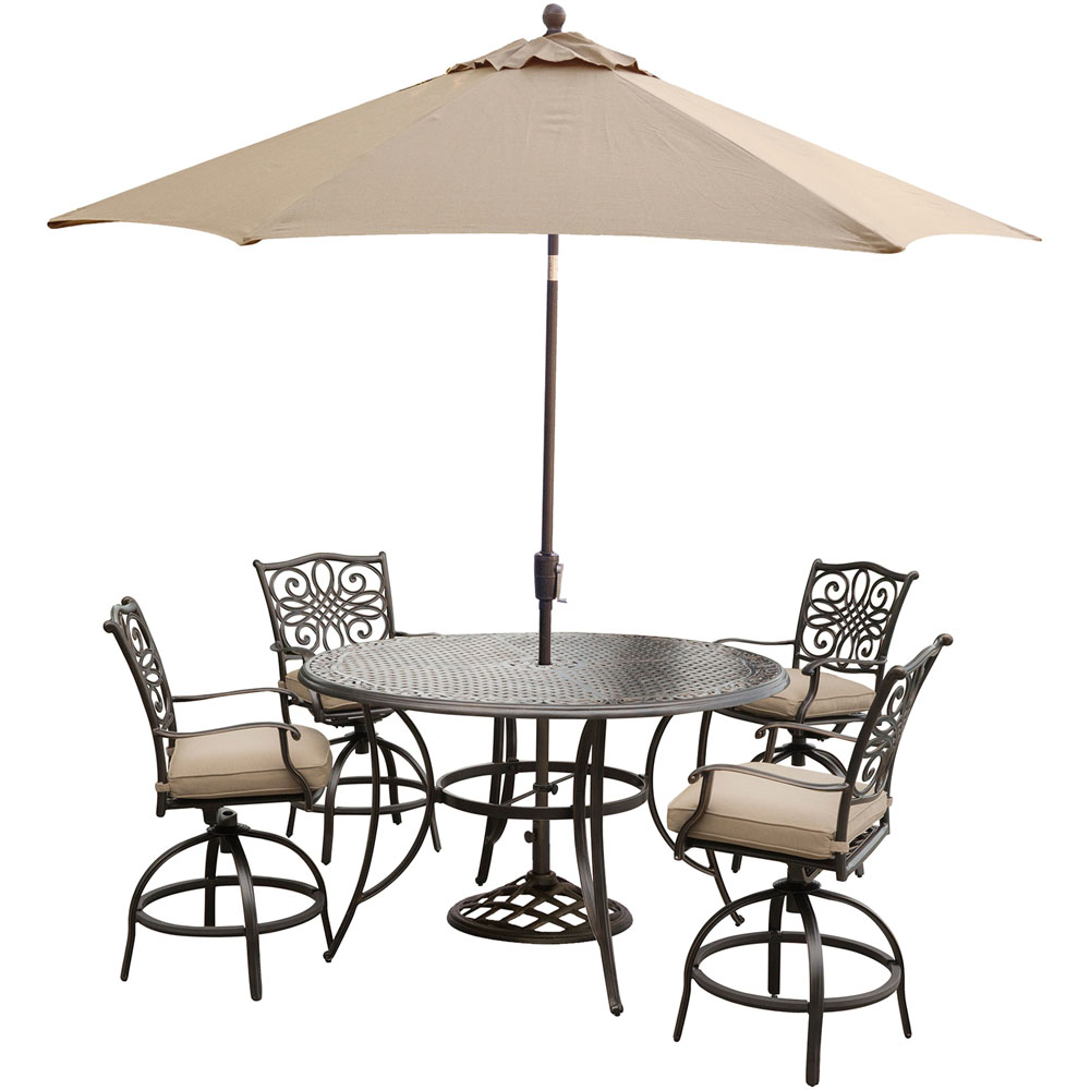 """Traditions 5PC High Dining:4 Swvl Bar Chrs ,56"""" Round Bar Tbl, Umb,Stand"""