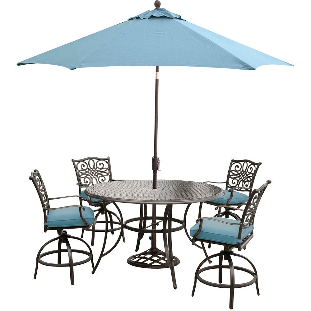 """Traditions 5PC High Dining:4 Swvl Bar Chrs(Blue),56"""" Bar Tbl,Umb, Stand"""